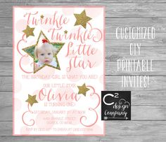 twinkle twinkle little star birthday invitation shabby chic