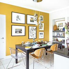 Modern Kitchen Interior Want kitchen-diner decorating ideas? Take a look at this compact scheme with a yellow feature wall for inspiration - Want kitchen-diner decorating ideas? Take a look at this compact scheme with a yellow feature wall for inspiration Yellow Kitchen Accents, Yellow Kitchen Walls, Yellow Dining Room, Yellow Accents, Yellow Chairs, Dining Room Feature Wall, Yellow Walls Living Room, Yellow Cabinets, Feature Walls