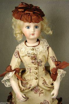 """Antique Silk Lady Doll Dress and Hat for 12"""" inch French Fashion Jumeau Bru FG #FrenchFashionDoll #CarolStraus carolstraus.com #silkandtrim"""
