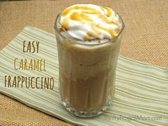 This homemade caramel frappuccino is so delicious and easy to make.  Not only will it save you money, it's also a great way to use up leftover coffee!