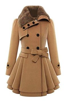SALE PRICE - $59.99 - Zeagoo Women's Fashion Faux Fur Lapel Double-breasted Thick Wool Trench Coat Jacket