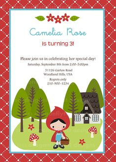 Little Red Riding Hood Digital Invitation for  by Dragonflytwist, $10.00