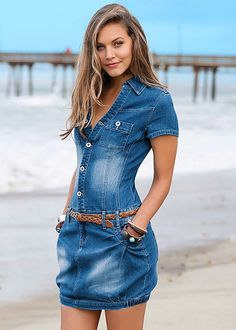 Tailored denim gives the sexy, summer feel you have been looking for! Venus denim shirt dress with braided belt.
