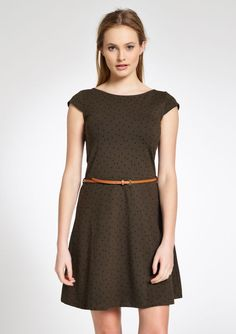 Geprinte jurk met korte mouwen