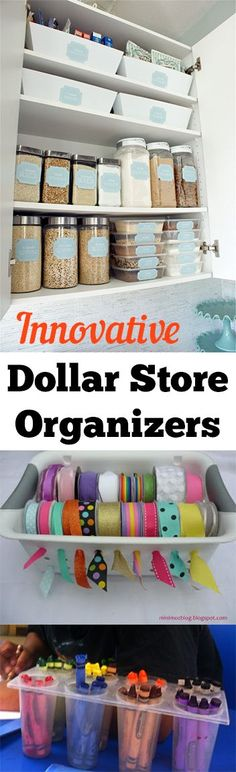 organization ideas from the dollar store. Great tips and ideas for getting organized for less.