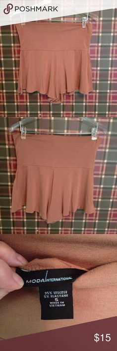 MODA INTERNATIONAL fold-top shorts Soft and comfy! A pretty shade of light brown, a little darker than camel. Moda International Shorts