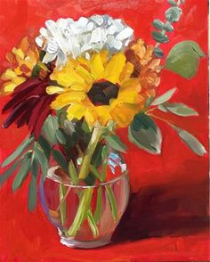 """Daily Paintworks - """"Its All About the Red"""" - Original Fine Art for Sale - © Martha Lever Small Canvas Paintings, Artist Sketchbook, Still Life Art, Arte Floral, Art Classroom, Abstract Flowers, Fine Art Gallery, Oeuvre D'art, Painting Inspiration"""