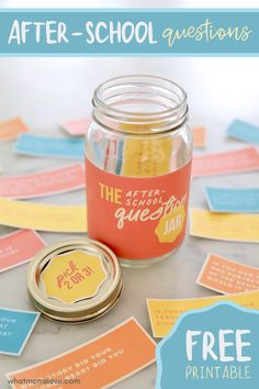 """Free printable After School Question Jar. GENIUS list of questions to ask kids after school that will get them talking, instead of """"how was your day?""""! Gentle Parenting, Kids And Parenting, Parenting Hacks, Questions To Ask, This Or That Questions, Homework Organization, Chewy Granola Bars, Sibling Relationships, Timing Is Everything"""
