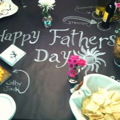A fun way to decorate the table.  Use black paper (big roll from Michaels) and chalk.  This was from fathers day but could work for any occasion!