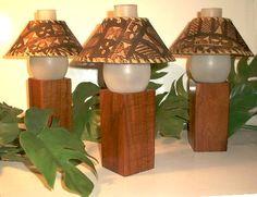 Koa Wood and Tapa Bark Cloth vintage Hawaii restaurant table lamps