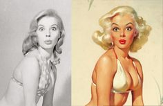 Pinturas de Pinups lado a lado com as fotos originais