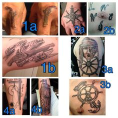 """Tattoo Tuesday  In this special edition of tattoo Tuesday, one o the crew has accepted a challenge… He's going ink for ink with The Captain! ⚓️ Vote for your favorite tattoo (""""a"""" or """"b"""") for each numbered pair. To make it fair, we're not saying which tattoos belong to whom and we're not tagging either person. Also, all of the """"a"""" tattoos don't belong to the same person. When you vote, your (...click to read more)"""