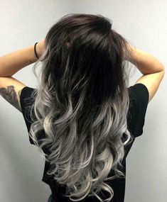 39 Trendy hair color ideas for brunettes balayage grey haircolor - 39 Trendy hair color ideas for brunettes balayage grey haircolor - Hair Color For Black Hair, Ombre Hair Color, Cool Hair Color, Silver Ombre Hair, Black To Grey Ombre Hair, Black And Silver Hair, Hair Color Silver Grey, Blue Grey, Gray Color