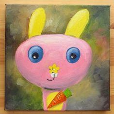 Bunny PortraitOriginal Art Animals Oil on canvas by MikiMayoShop