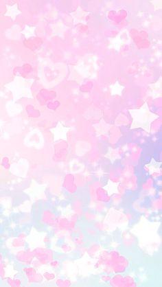 Pink hearts and stars bokeh iPhone wallpaper