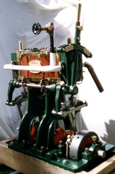 "Colonial Iron Works Twin Cylinder Engine - 3.25"" dia. X 4.25"" stroke, it produces approximately 12 bhp is the real thing and not a model. It can power a 30 foot launch at 6 or 7 knots."