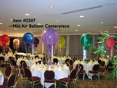 Balloon Centerpieces Hot Air Balloon Centerpiece - Up With Balloons. By Balloons From All Occasions Hot Air Balloon Centerpieces, Diy Hot Air Balloons, Small Balloons, Balloon Decorations, Table Centerpieces, Balloon Ideas, Graduation Theme, Graduation Ideas, Balloon Clusters