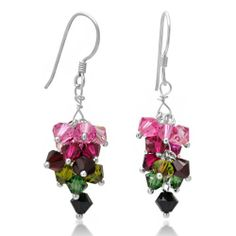925 Sterling Silver Multi-color Clustered Swarovski Crystal Dangle Hook Earrings Fashion Jewelry for Women - Nickel Free Chuvora. $26.99. Weight: 1.72 grams. Packaging: Black Velvet Pouch. Width: 1 cm, Height: 2.5 cm. Save 40%!