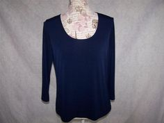 SLINKY BRAND Shirt Top M Liquid Stretch 3/4 Sleeves Blue Pull Over Womens #SlinkyBrand #KnitTop #Casual