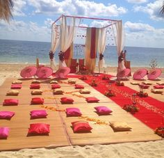 One of the many beautiful wedding ceremony setups at Dreams Riviera Cancun Resort & Spa in Riviera Maya, Mexico. The options at this resort are endless! #Destinationwedding #beachceremony