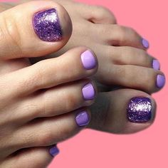 Designs for Sprint Winter Summer and Fall. Toe Nail Designs for Spring Winter Summer Fall. My next nail idea. Simple and glam with glitter.Toe Nail Designs for Spring Winter Summer Fall. My next nail idea. Simple and glam with glitter. Purple Toe Nails, Purple Toes, Pretty Toe Nails, Cute Toe Nails, Toe Nail Color, Toe Nail Art, Nail Colors, Glitter Toe Nails, Pretty Toes