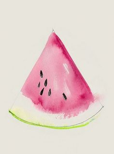 This watercolor illustration shows the difference between botanical illustration and merely suggesting a slice of watermelon. Watercolor Pencils, Watercolor Art, Watercolors, Simple Watercolor Paintings, Watercolor Beginner, Watercolor Tutorials, Art Paintings, Art Journals, Painting & Drawing
