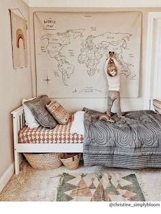 kids bedroom natural World map, neutral playroom, neutral boy bedroom, girl bedroom decor
