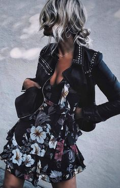 awesome outfit / black moto jacket and floral dress