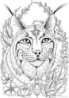 check out this new intricate printable coloring page for grown ups featuring a lynx