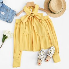 To find out about the Open Shoulder Bow Tied Neck Blouse at SHEIN, part of our latest Blouses ready to shop online today! Girls Fashion Clothes, Teen Fashion Outfits, Girly Outfits, Stylish Outfits, Girl Fashion, Fashion Dresses, Cute Outfits, Womens Fashion, Dresses Kids Girl