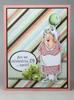Art Impressions 29 Again! Ai People handmade birthday card.