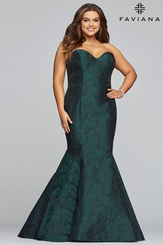 5bb9ef8e35a Style 9470 from Faviana Curve is a strapless plus size long sweetheart neck  jacquard prom dress. French Novelty