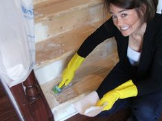 This lady refinished her own stairs for under $100!  I'm gonna be just like her!