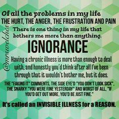 Ignorance of chronic Invisible illnesses