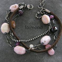 opal różowy, turmalin, granat, rubin i zamszowy rzemień ... bransoletka Biżuteria Bransolety formood
