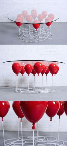 "Playful Coffee Table Creates the Illusion That It's Held up by Balloons - Christopher Duffy of Duffy London created a playful ""Up"" table that looks like it's floating on a bunch of balloons."