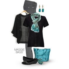black and teal by maggiebags on Polyvore