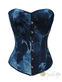 Blue Marbled Denim Overbust Boned Fashion Lace Corset- Front $46.36