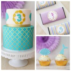 Planning a party? Adorable mermaid themed birthday party on www.KarasPartyIdeas.com | Kara's Party Ideas!