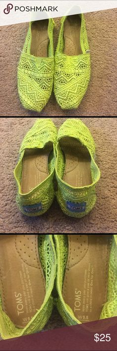 Toms lime green crochet shoes Lime green crochet toms. Women's size 5.5. Like new. TOMS Shoes Flats & Loafers