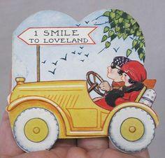 Vintage Valentine Card Boy Girl in Auto 1 Smile to Loveland Road Sign