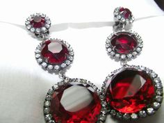 Ruby RED & Crystal Rhinestone Chandelier Earrings Vintage Kenneth Jay Lane KJL Sold for $ 180