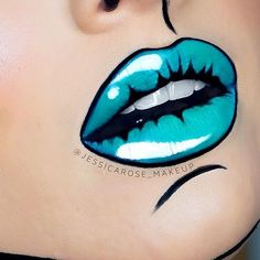Pop art lips   Products used: Black - @maybelline Black gel liner and @ofracosmetics liquid lipstick in The Bronx Use code PINNER for 30% off! Blue - @meltcosmetics lipstick in Blitzed. White - @nyxcosmetics Jumbo  eye pencil in Milk and white liquid liner. https://www.ofracosmetics.com/products/long-lasting-liquid-lipstick?variant=14067794886