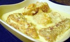 Fish in bazhe - traditional Georgian walnut sauce Walnut Sauce, Georgian Cuisine, Coriander, Fries, French Toast, Food And Drink, Traditional, Breakfast, Pepper