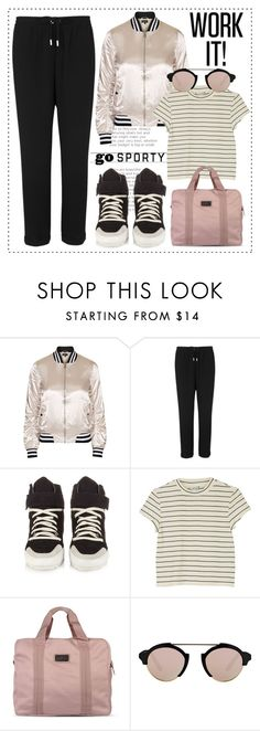"""""""Go Sporty!"""" by alaria ❤ liked on Polyvore featuring Topshop, Whistles, Isabel Marant, Monki, adidas, Illesteva and sportystyle"""