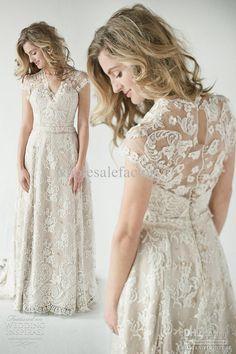En gros Robes de mariée A-Line - Acheter 2013 dentelle robes de mariée Retour A Inspiré robe de dentelle de cru de retour de mariage glamour avec des manches courtes plage d'été de robes de mariée B O1081, 151,14 $ | DHgate