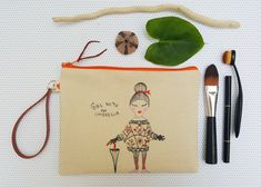 Canvas zipper pouch, Present for her, Hand drawn clutch with strap, Cute wristlet, Girl with umbrella bag, Small purse, Cosmetic bag Handmade Jewelry, Unique Jewelry, Handmade Gifts, Presents For Her, Fabric Markers, Bubble Envelopes, Craft Items, Zipper Pouch, Pouches