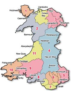 Attratctions in Wales - click on a region of Wales
