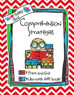 A complete set of comprehension strategies anchor charts and tons of graphic organizers make teaching these strategies a piece of cake for any grade and any text.  Use with the whole class after read alouds, in groups, with a partner, in a center, or for prewriting about the text.
