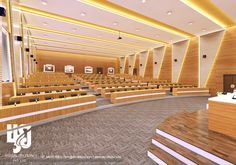 Visualization is expert in architectural rendering, walkthrough, architecural visualization, animation, interior design and realistic rendering Auditorium Design, Auditorium Architecture, Rendering Interior, Hall Interior Design, Hall Design, Architecture Design, Theater Architecture, Meeting Hall, Office Meeting